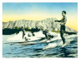 Sea Gods, Surf Riders at Waikiki, Hawaii c.1930 Poster by Frank S. Warren