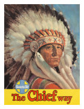 Santa Fe Railroad, The Chief Way, Native American Indian, c.1955 Giclee Print