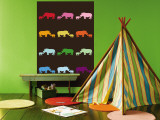 Brown Rainbow Rhinos Wall Mural by Avalisa 