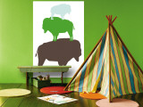 Green Buffalo Wall Mural by  Avalisa