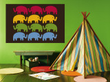 Brown Elephant Family Wall Mural by  Avalisa