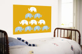 Orange Counting Elephants Wall Mural by  Avalisa