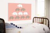 Pink Counting Elephants Wall Mural by  Avalisa