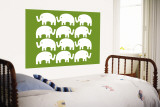 Green Elephant Family Wall Mural by Avalisa