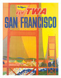 Fly TWA San Francisco, Golden Gate Bridge c.1958 Giclee Print by David Klein