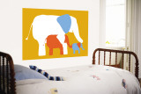 Orange Elephants Wall Mural by  Avalisa