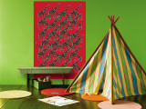 Red Giraffe Pattern Wall Mural by  Avalisa