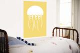 Yellow Jellyfish Wall Mural by  Avalisa