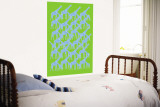 Green Giraffe Pattern Wall Mural by  Avalisa