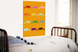 Orange Rainbow Rhinos Wall Mural by  Avalisa