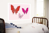 Papillon rose Art Mural par  Avalisa