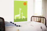 Green Giraffe Wall Mural by  Avalisa