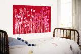 Red Wildflowers Wall Mural by  Avalisa