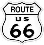 Blason de la U.S. Route 66, reliant Chicago à Los Angeles de 1926 à 1985, États-Unis Plaque en métal