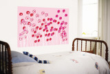 Pink Wild Flowers Wall Mural by  Avalisa