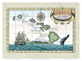 Vintage Style Map of the Hawaiian Islands Prints by Steve Strickland