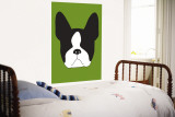 Green Boston Terrier Wall Mural by Avalisa 