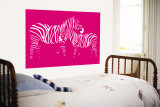 Pink Zebra Wall Mural by Avalisa