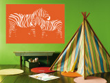 Orange Zebra Wall Mural by  Avalisa