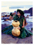 Grateful, Hula Girl with Ipu Drum, Hawaii Prints by Ronald Laes