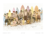 Surf's Up!, Hand Colored Photo of Hawaiian Children Prints by  Himani
