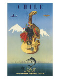 Scandinavian Airlines Chile, Gaucho Guitar, c.1951 Giclee Print by  De Ambrogio