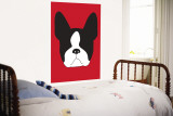 Red Boston Terrier Muurposter van Avalisa