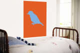 Orange Bird Silhouette Wall Mural by  Avalisa