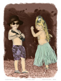 Let's Dance, Hand Colored Photo of Hawaiian Children Poster by  Himani