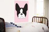 Pink Boston Terrier Wall Mural by  Avalisa