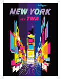 Fly TWA New York c.1958 Giclee-vedos tekijänä David Klein