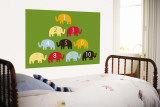 Green Counting Elephants Wall Mural by Avalisa 