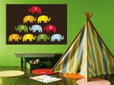 Brown Counting Elephants Wall Mural by  Avalisa