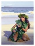 Patience, Hula Girl, Maui, Hawaii Print by Ronald Laes
