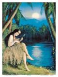 Hula Moon, Hawaiian Girl, c.1930 Art