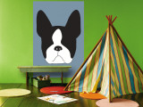 Blue Boston Terrier Wall Mural by  Avalisa
