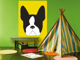 Yellow Boston Terrier Wall Mural by  Avalisa
