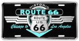 Route 66 Deco Auto Tag Blikskilt