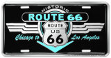 Route 66 Deco Auto Tag Tin Sign