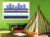 Blue Subway Wall Mural by  Avalisa