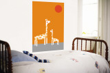 Orange Giraffe Wall Mural by  Avalisa
