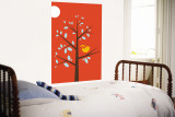 Orange Song Bird Wall Mural by Avalisa