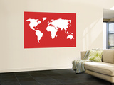 Carte du monde en rouge Reproduction murale par  Avalisa