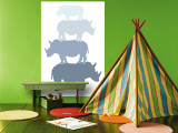 Blue Rhino Wall Mural by  Avalisa