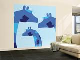 Blue Giraffes Wall Mural – Large