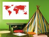 Carte du monde en rouge reproduction murale géante par  Avalisa