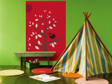 Red Songbird Wall Mural by  Avalisa