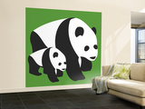 Green Panda Wall Mural – Large