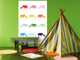Rainbow Rhinos Wall Mural by  Avalisa