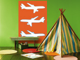 Orange Planes Wall Mural by Avalisa